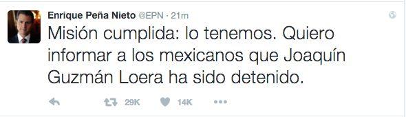 ¡De Último Minuto! Capturan Al Chapo Guzmán Informa El Presidente De México