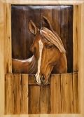 "Hand Carved & Painted Door with Horse 30""W to 36""W x 80""T Item # DOOR00124 Interior Knotty Pine 2 Panel Door with carved upper panel- $2495 Item # DOOR00125"