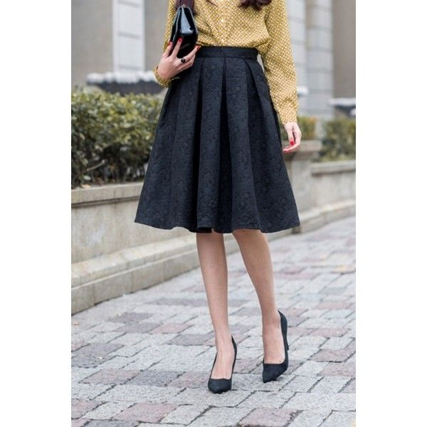 Fashion Structured Pleated Skirt OASAP.COM via Polyvore featuring skirts, a line skirt, knee length skirts, structured a line skirt, knee high skirts and pleated a line skirt