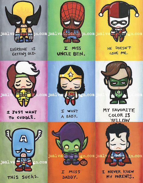 even superheroes get sad sometimes.