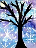 Crayon resist art - draw snowflakes, paint over with watercolours to create background, cut out winter tree silhouette