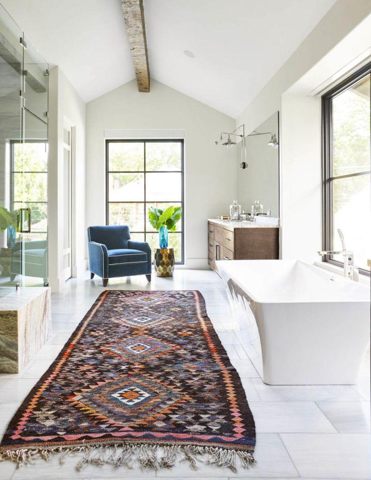 Large Pattern Runner Rug In Bathroom Design | Tatum Brown Custom Homes