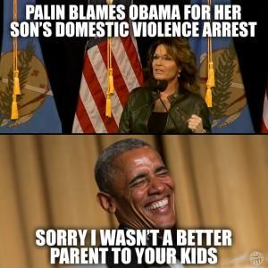 The GOP's biggest embarrassment endorses its second biggest embarrassment. Their slogan: 'Trump-Palin 2016: You're Fired! I Quit': Palin Blames Obama