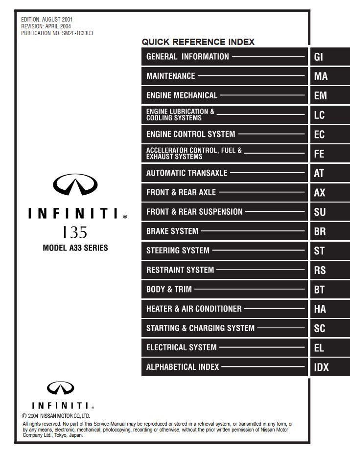 New Post Infiniti I35 Model A33 Series 2002 Service Manual Has Been Published On Procarmanuals Com Https Procarmanuals Com Infin Infiniti Manual Manual Car