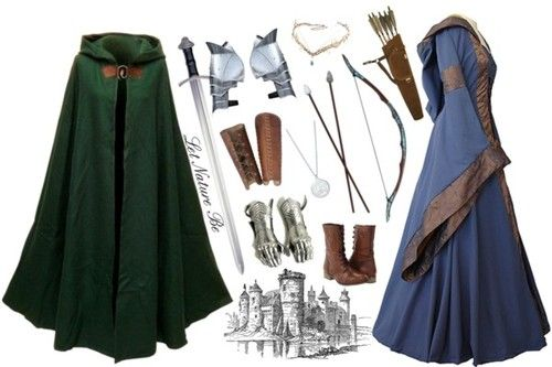 Accessories- Green Cloak and Brown bow and arrow for Merida; Blue dress for Merida's second costume and brown boots.