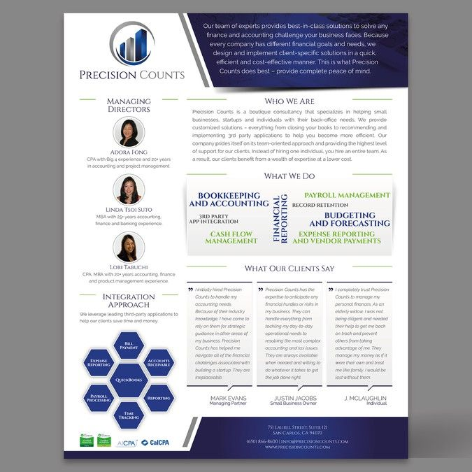 Create a visually appealing marketing one-pager for an innovative accounting consultancy by copilul