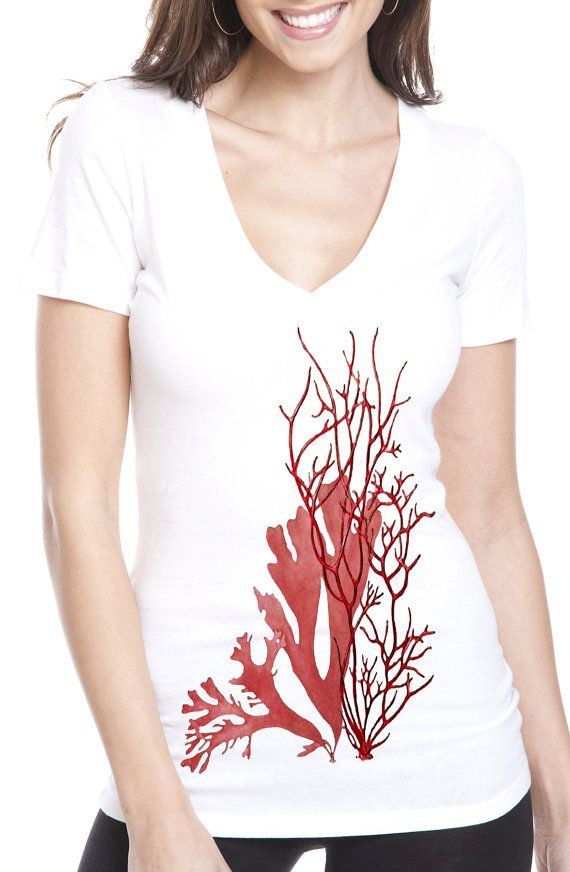 coral t-shirt - vintage design RED CORAL t-shirt - women's white deep v-neck ocean theme t-shirt
