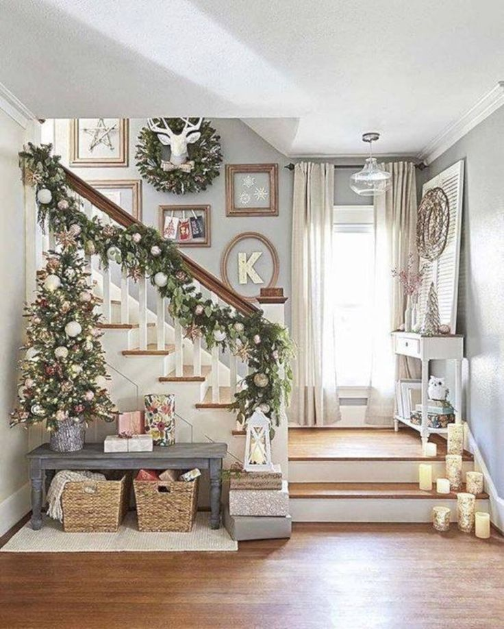I saved this because I like a smaller tree in a pot, the bench and the baskets. I adore the farmhouse style but it's a little void of color. This gives me a great idea for my 2017 Christmas decor!