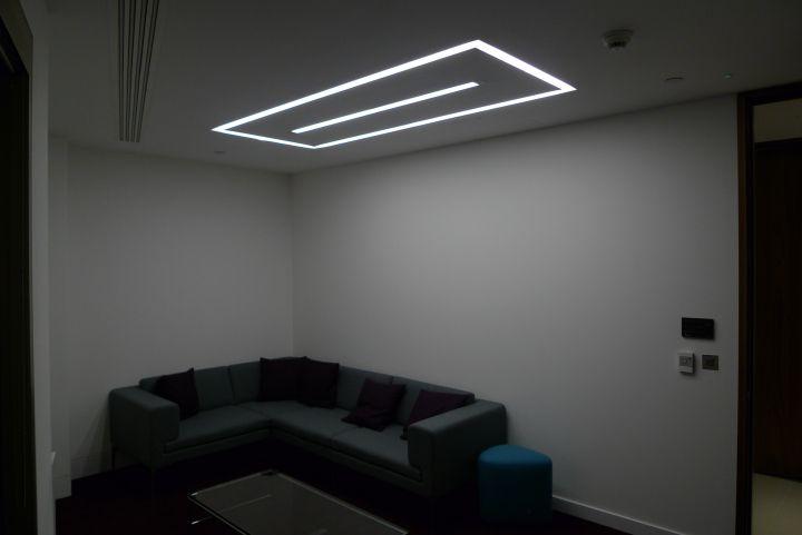 Continuous recessed LED profile