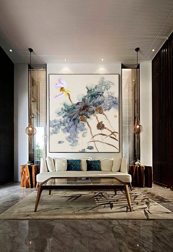 Lotus Painting, Canvas Art, Canvas Art, Original Artwork, Flower, Large Abstract Canvas Painting, Canvas Art Large Canvas Art Lotus Wall Art