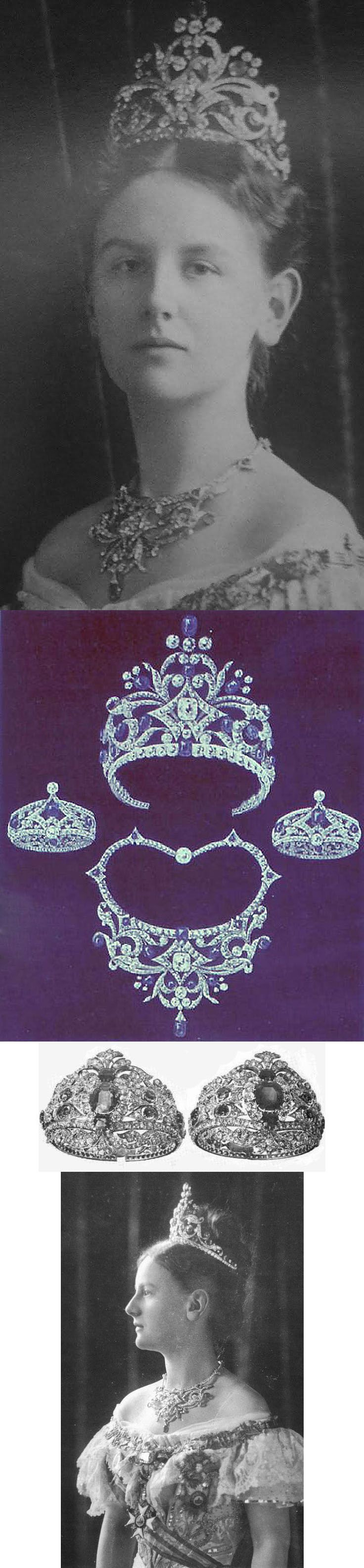 Queen Wilhelmina (1880-1962) wore a sapphire tiara which was given to her by the people of the Netherlands on occasion of her wedding to Prince Heinrich of Mecklenburg-Schwerin in 1901. The parure, designed by the firm Vila Israel and make by Hoeting from more than 800 pieces, was included a very large Indian diamond for the centre.