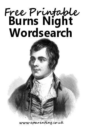 Free printable Burns Night Wordsearch #wordsearch #freeprintables #burnsnight