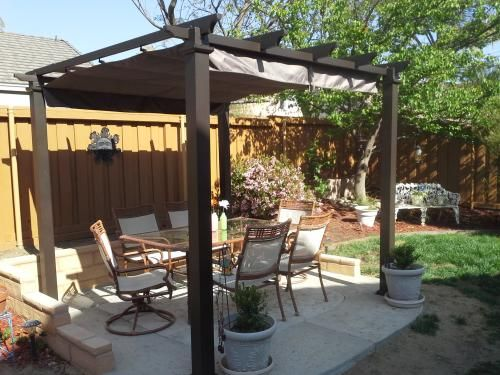 metal pergola with retractable canopy 2