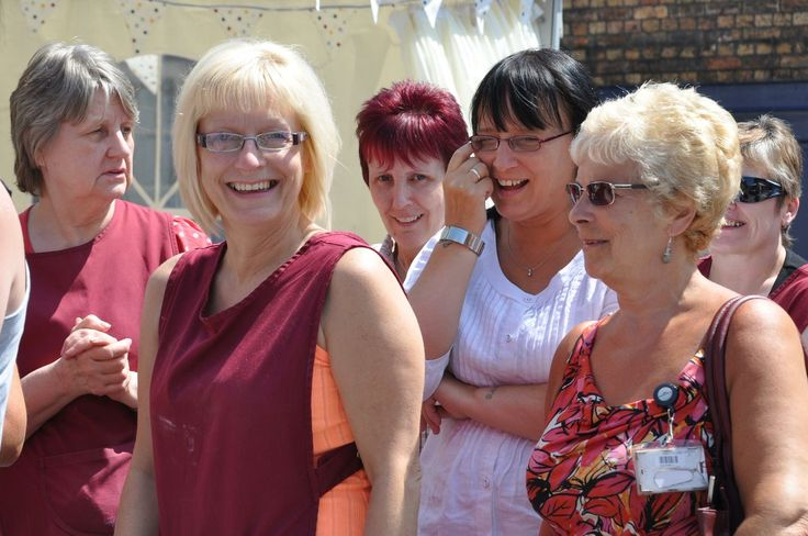 The lovely ladies from the factory queuing for Lunch....