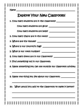 Explore Your New Classroom Scavenger Hunt - Laura Pickett - TeachersPayTeache...