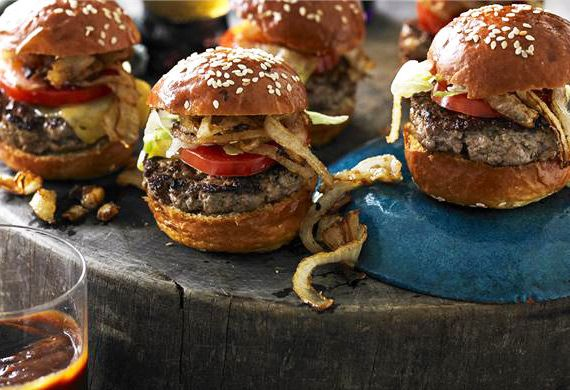 Mini cheeseburgers with fried onions recipe - 9Kitchen