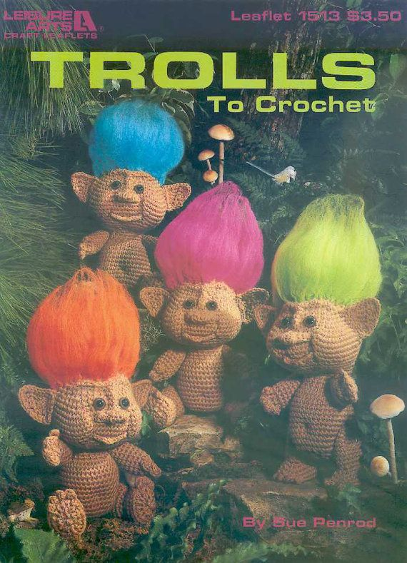 * This listing is for a PDF-file with scans/photocopies of the pattern, NOT for the finished items or the original pattern itself! *   An 8 page booklet with the crochet pattern for an adorable troll doll, about 10 ( 25.5cm) tall without hair, with both girls and boys outfits.   ~ Troll clothing crochet patterns ~ http://etsy.me/1VBaQbc ~ More toy & doll patterns ~ http://etsy.me/1XGUeAi