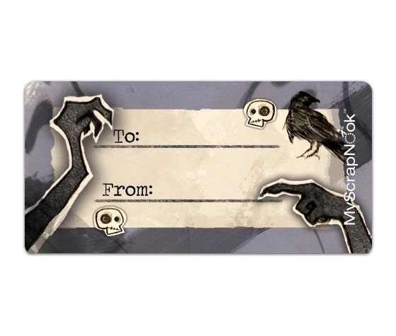 Download this Ravens and Skulls Shipping Label and other free printables from MyScrapNook.com