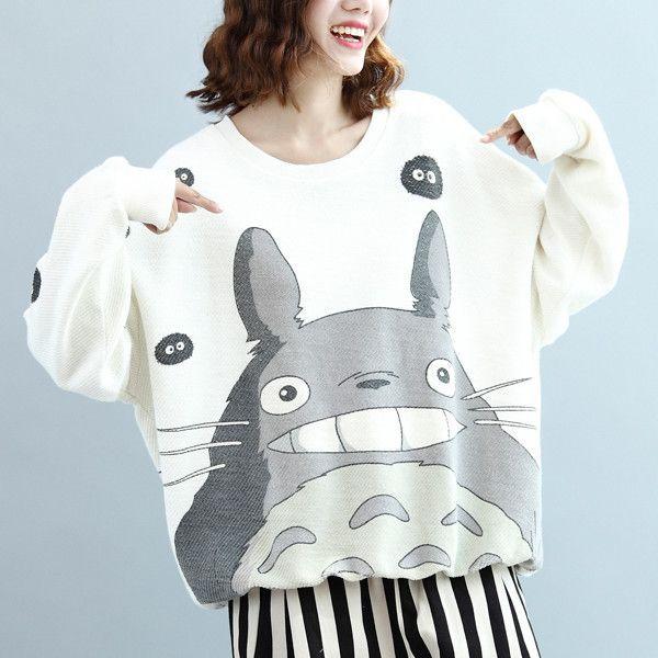 "Cute cartoon totoro fleece pullover    Coupon code ""cutekawaii"" for 10% off"