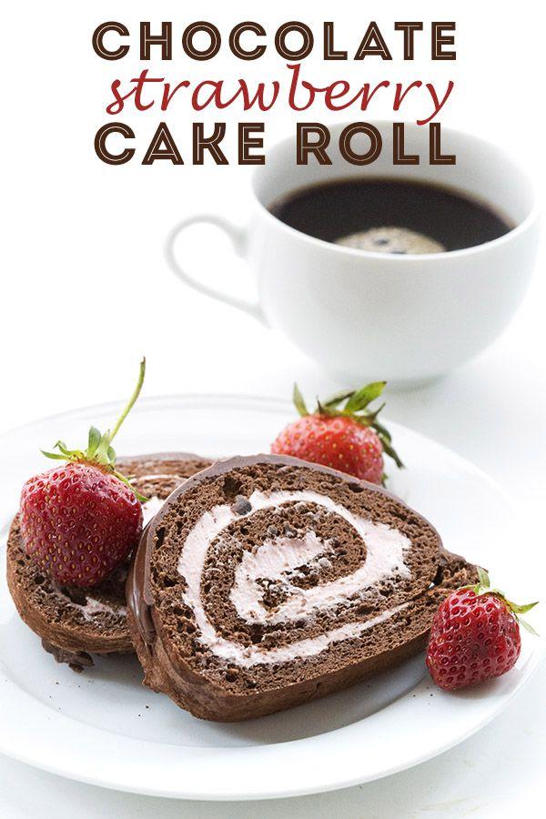 Chocolate Strawberry Cake Roll
