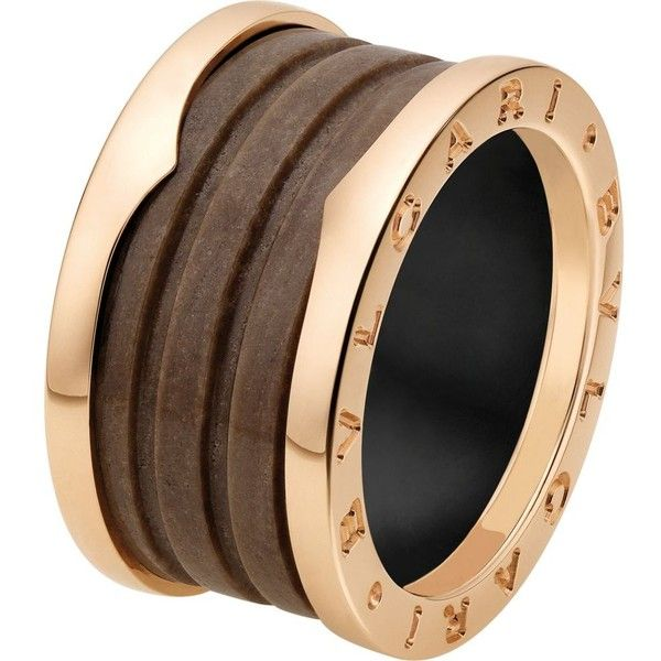 bvlgari bzero1 fourband 18ct pinkgold and brown marble ring