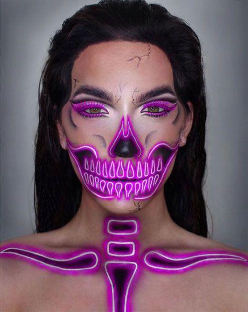 15+ Creepy Halloween Skull Make Up sieht für Mädchen und Frauen 2018
