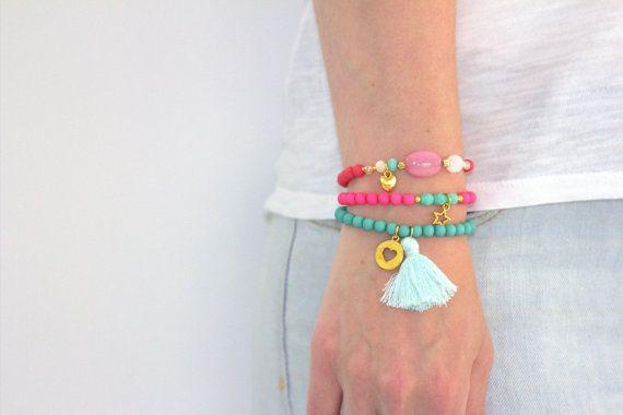 Armbandjes Met Kralen, Armcandy Kraaltjes, Tassel Sieraden, Festival Armbandje, Vriendschapsarmbandjes, Ibiza Stijl, Kleurrijk BR03 on Etsy, €15,00
