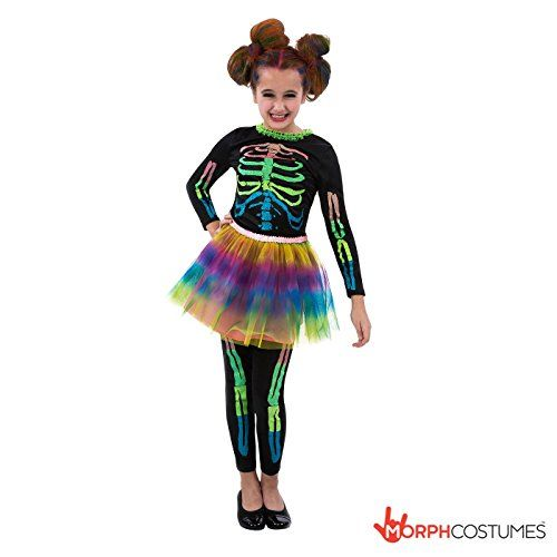 Girls Neon Tutu Skeleton Halloween Costume Large 12  14 Years * Find out more about the great product at the image link.