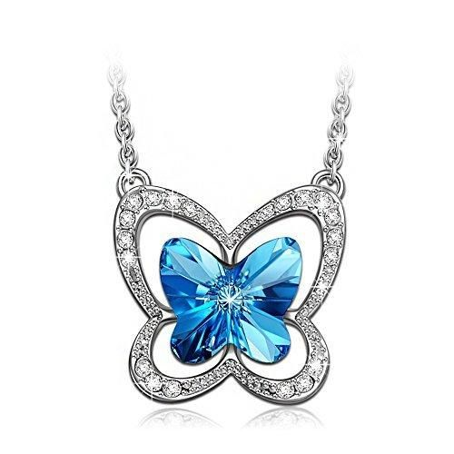 LadyColour Ocean Blue Butterfly Pendant Necklace Made With Swarovski CrystalsAnimal Jewelry For Girls WomenChristmas giftsBirthday giftsAnniversary gifts for daughtergirlfriendwifesisterniece