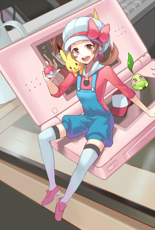 Lyra sitting on pink DS.