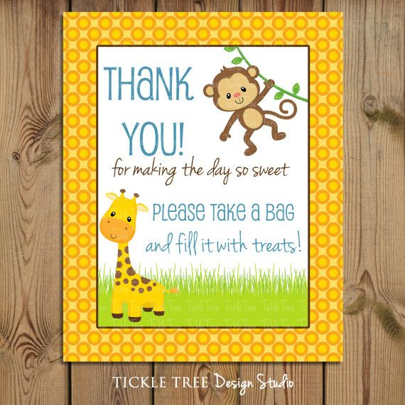 A sweet sign for your sweet Candy Buffet table! PRINTABLE Thank You Treat Sign Jungle Time by tickletreestudio, $6.95