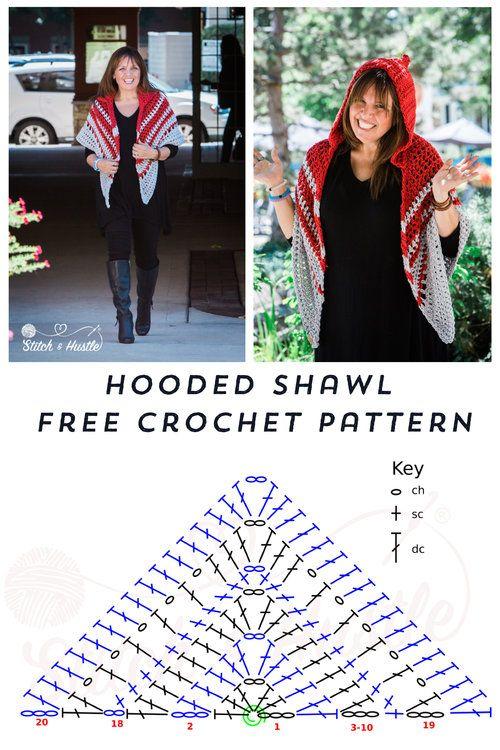 Woodward Hooded Shawl Free Crochet Pattern | crochet | Pinterest ...