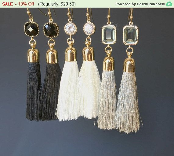 Gray Silk Tassel   16K Polished Gold Plated over Brass Cap  Size = 7mm x 34mm    Earrings  Color = Matte Gold  Material = Brass  Size = 13mm x 28mm    Earring hook - Base meterial : Brass  Size : 20.5 mm   Treatment : Luster  Gold  plated  High quality plated. Anti tarnish. hypoallergenic.    All items come wrapped individually in a ribboned gift box. | Shop this product here: spreesy.com/lalacrystal/206 | Shop all of our products at http://spreesy.com/lalacrystal    | Pinterest selling…