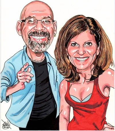 "This is an illustration I created in my ""portrait Caricature"" style of myself and the lovely Mrs. Portnoy. I use this art as my corporate branding in my PR as well as many other applications promoting my art studio."