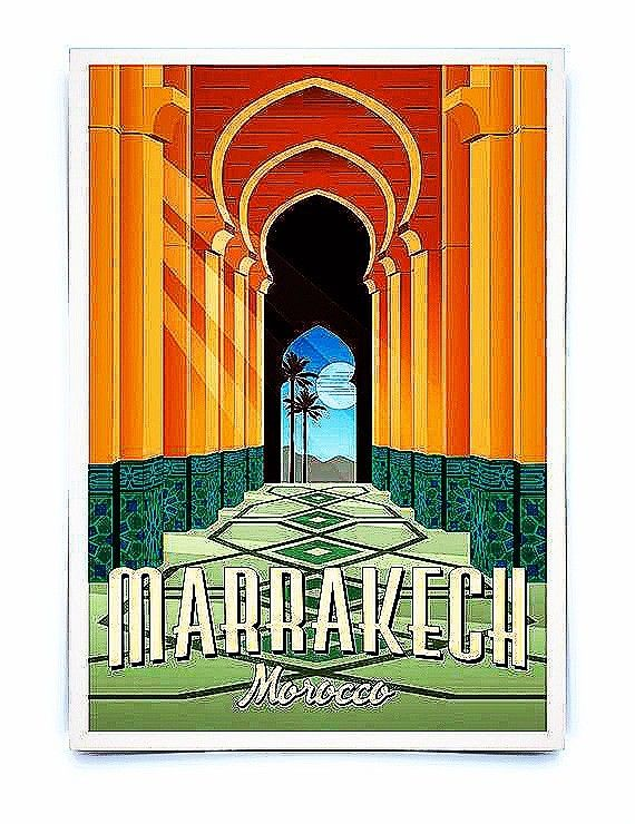 Vintage Royal Air Maroc Moroccan Airlines Poster A3//A4 Print