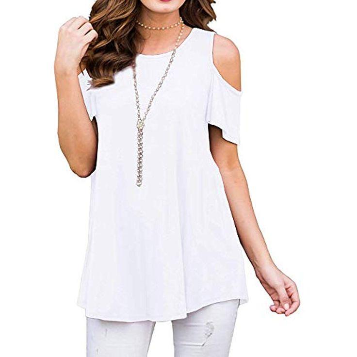 Damen Sommer T-Shirt Casual Schulterfrei Tunika Lose Oberteil Shirt Top #Bekleid…