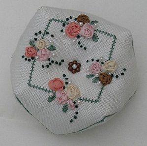 biscornu with ribbon embroidery