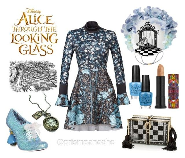 "Alice Through the Looking Glass // Alice #CloverCanyon Bohemian Rhapsody Dress // #IrregularChoice Alice Shoes // #AliceinWonderland #DrinkMe Pocket Watch Necklace // #Orelia Orchid #FlowerHairBand // #OPI ""The I's Have It"" & ""Fearlessly Alice"" Nailpolish // #UrbanDecay #AliceThroughTheLookingGlass ""Alice"" Lipstick // #JudithLeiber Checkered Book Clutch Bag // #udinwonderland #opinailpolish #alice #wonderland #lookingglass #disney #wereallmadhere #goaskalice #prismpanache @prismpanache"