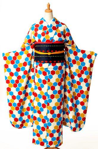 着物 レンタル 京呉館 kimono rental-Colorful hexagons!