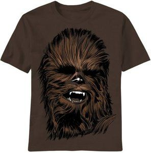 Star Wars Chewbacca Chewy Face Brown Adult T-shirt