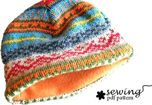 Recycled Sweater Hat Pdf pattern by J Howell | Sewing Ideas