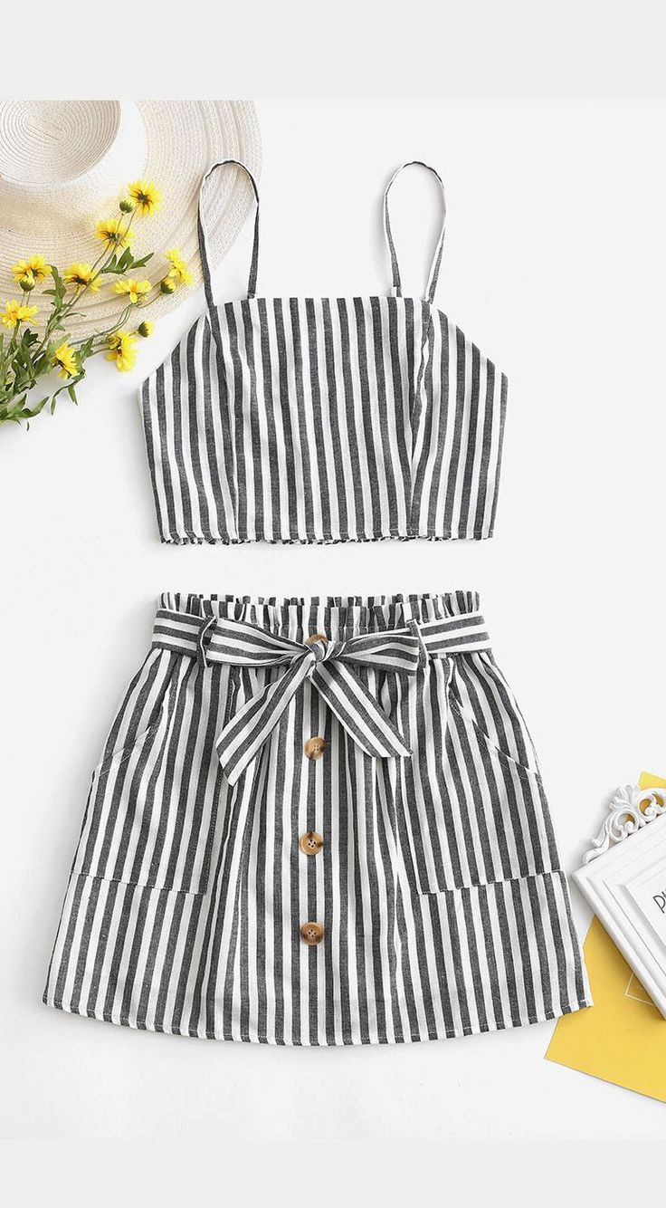 #smocked #striped #belted #summer #outfit #skirt 2