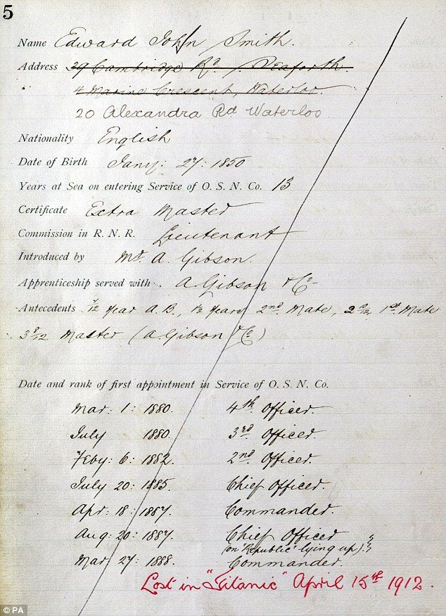 Lost in the Titanic: The employment record for Captain John Edward Smith who was the officer in command when the ship sank