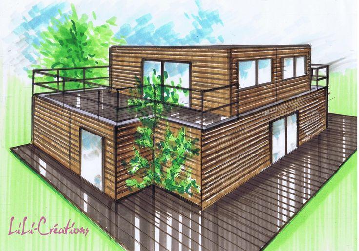 Fondations le blog de elise fossoux container drawings for Architecte maison container
