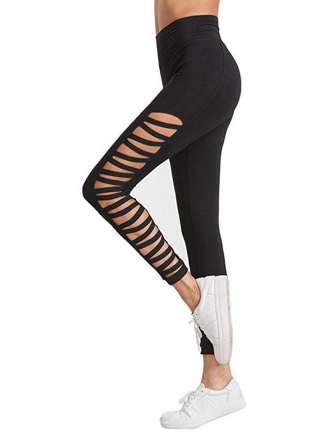 SweatyRocks Leggings Women Yoga Workout Pants High Waist Cutout Tights