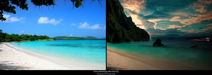 Pirate Bay - 2011 This is one of my first attempts of digital matte art. #pirate #tropicalisland #beforeafter #beach #tropical #starquakedesign