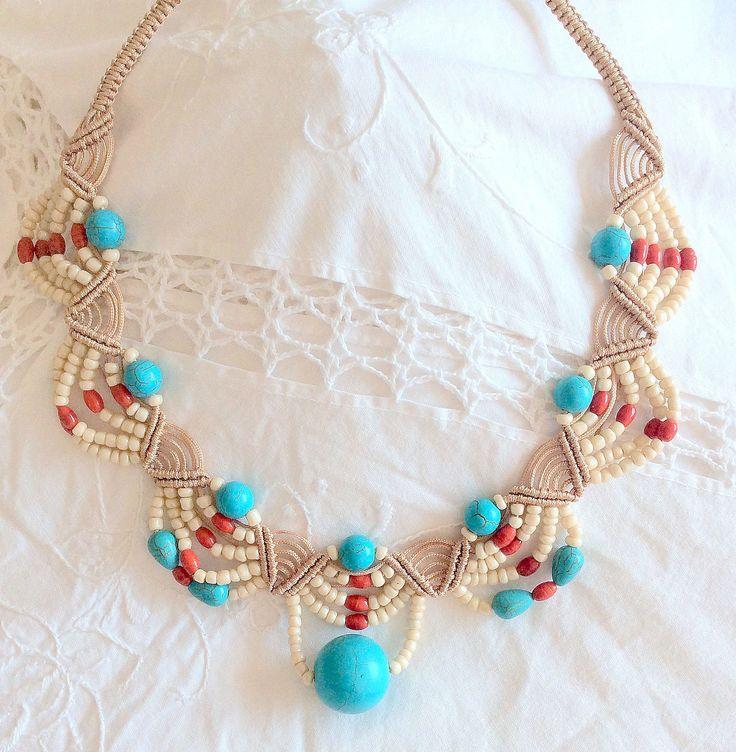 corallo macram marisarte bis turchese girocollo pizzojpg Macrame NecklaceMacrame JewelryHemp
