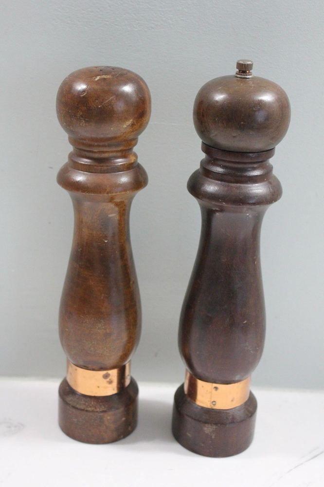 Vintage Salt And Pepper Grinder Wooden Tall