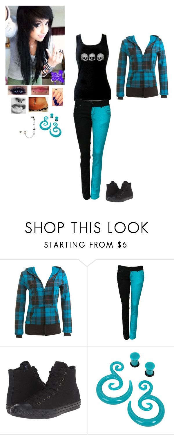 """Untitled 55"" by dreadful-glassheart ❤ liked on Polyvore featuring Wet Seal, Converse and Hot Topic"