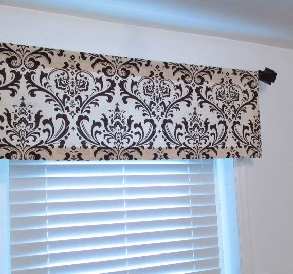 Handmade Curtain Valance made in Natural/Brown Damask 50 wide 2 1/2 rod pocket in your choice of length. All hems are blind-stitched for a